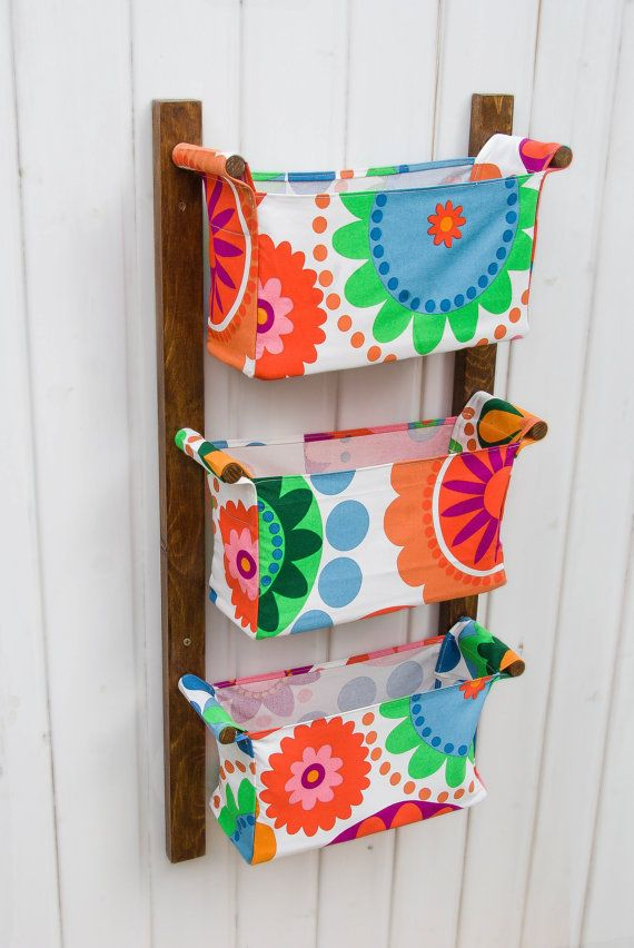 Wall hanging storage - with 3 pockets - bins chocolate brown varnish wood rack - Colourful flowers, circles