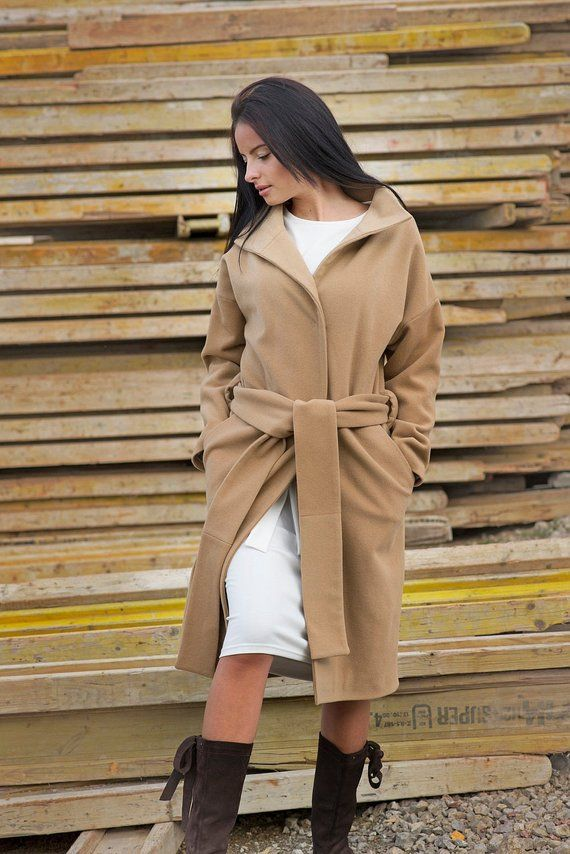 2ae4c9933be Camel Cashmere Wool Winter XL Womens Long Oversized Black Belted Warm Knee  Length XXL Trench Plus Size Coat For Her in 2018