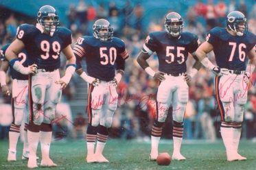 Dan Hampton, Mike Singletary, Otis Wilson and Steve McMichael. NFC Divisional Playoffs RFK Stadium, Washington D.C., December 30, 1984.