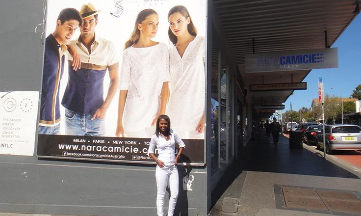 Miriam in front of the NaraCamicie billboard - Oxford St, Paddington, Sydney #Summer #Spring #Hot #Fashion #Clothes #Shirt #Shop #Store #Fashionable #Stylish #Naracamicie