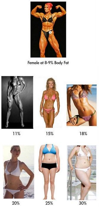 Bodies and their fat % Mi gusto para una mujer : 18% a 20%