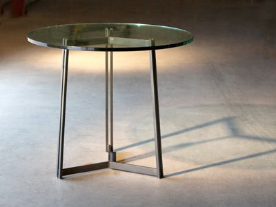 Attractive The Kern Dining Base Shown With A Round Thick Glass Top. Made In USA By Charleston  Forge.