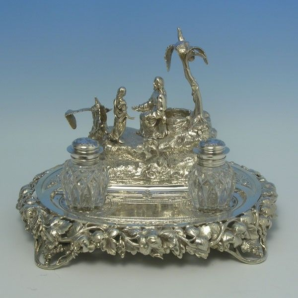 e4825: Antique Silver Plate Ink Stands - Circa 1868 - Victorian - image 1