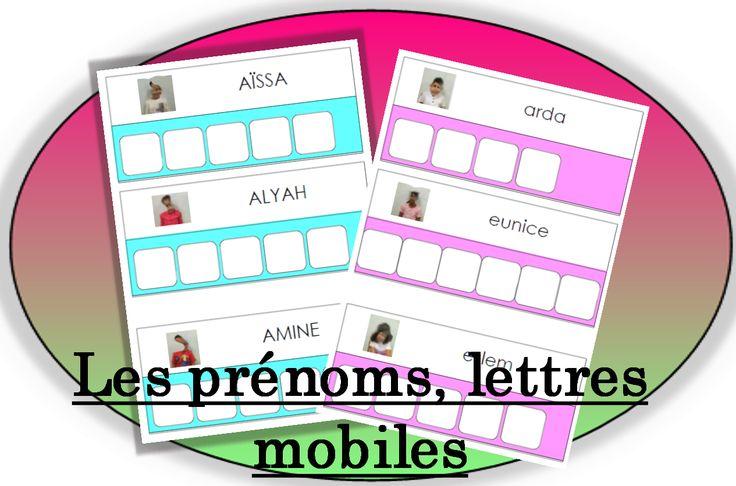 Fiche pour lettres mobiles : à modifier selon les prénoms de vos élèves