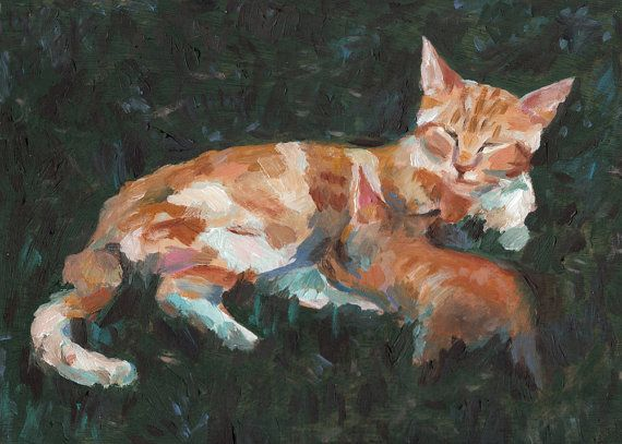 Mother and baby pet painting pets art cats paintings   by tushtush