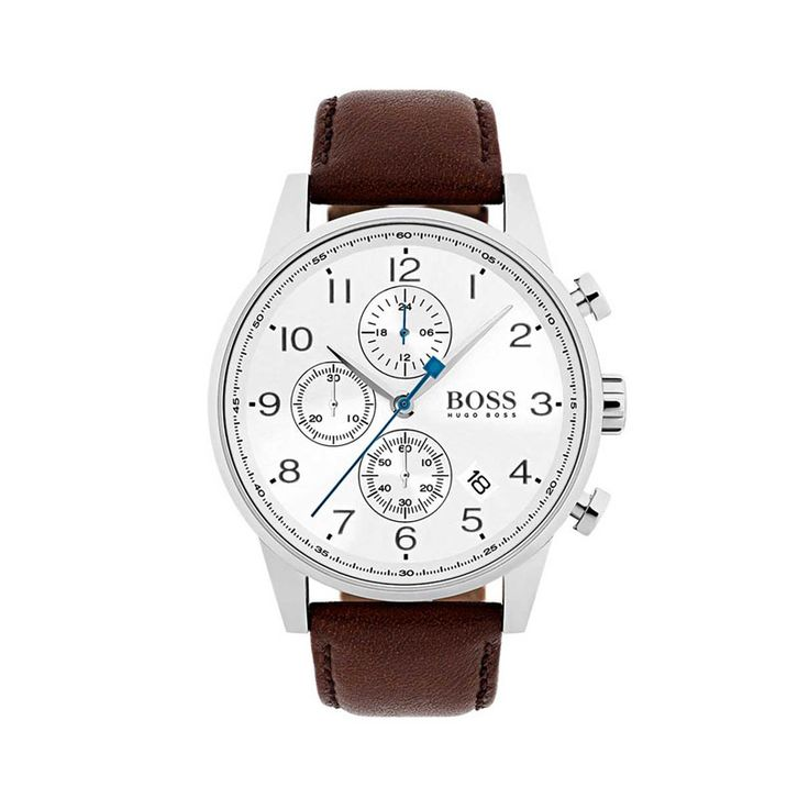 1513495 Ανδρικό quartz ρολόι HUGO BOSS Navigator με λευκό καντράν & καφέ δερμάτινο λουρί | Ανδρικά ρολόγια BOSS ΤΣΑΛΔΑΡΗΣ στο Χαλάνδρι