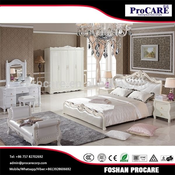 antique pearl white leather bed bedroom sets furniture wood from Foshan