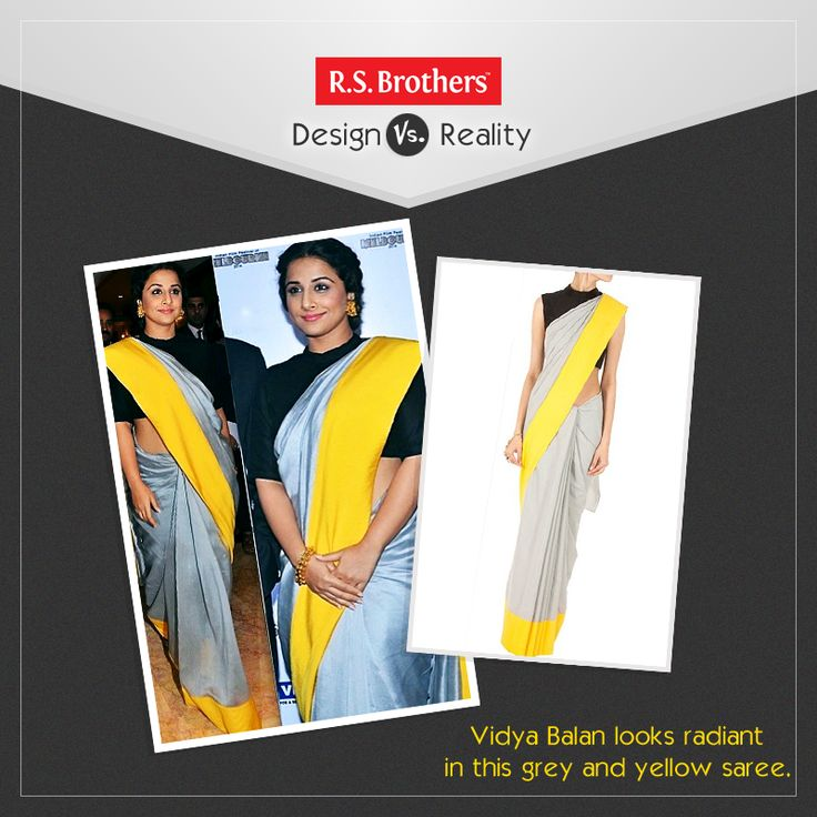 #DesignVsReality!  Bollywood Actress #VidyaBalan looks stunning in this Yellow and Grey Saree. This #Saree adds more grace to her Look. How much would you rate for this Style out of 5?  (Image copyrights belong to their respective owners)