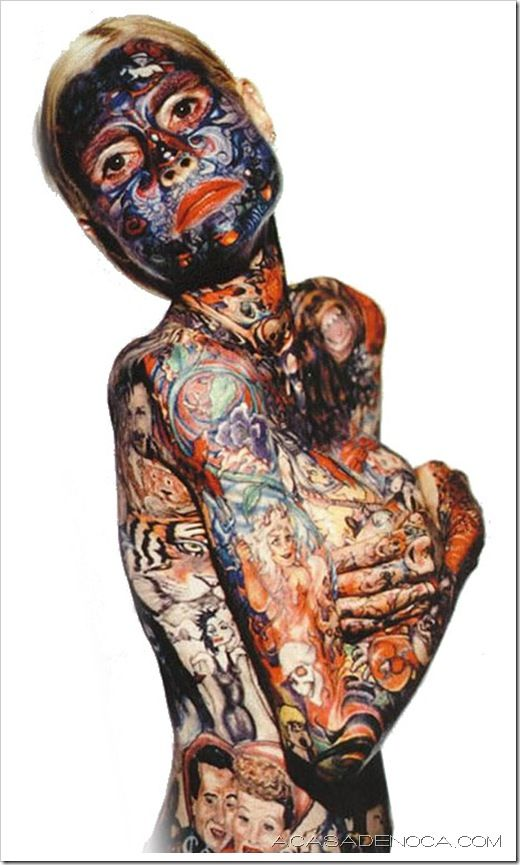 Julia Gnuse, also known as the illustrated lady, was born with a condition called porphyria which causes her skin to blister regularly and ultimately scar. In order to cover this up she started getting tattoos applied over the affected areas. After 10 years she was covered in them and holds the Guinness Record for being the most tattooed woman in the world.