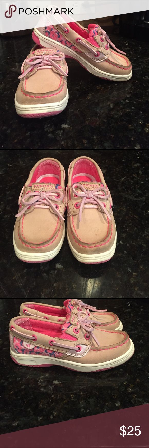 Girls Sperry shoes size 10.5 Adorable pair of girls leather Sperry  shoes. Worn once. See pics for exact condition. From clean pet and smoke free home. Sperry Shoes
