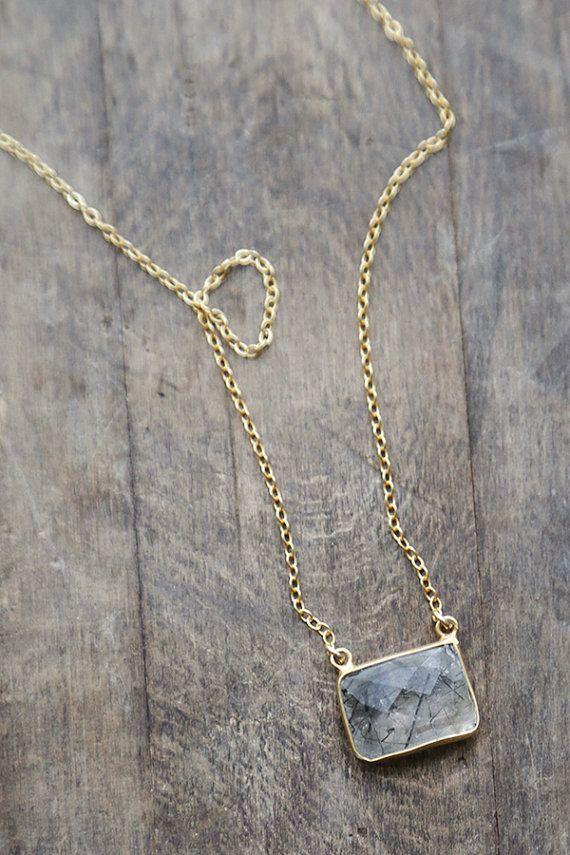 Tourmalinated Quartz Pendant, Black and Gold Jewelry, Minimal Rutilated Quartz Necklace, Modern Handmade Gold Jewelry, Geometric Pendant