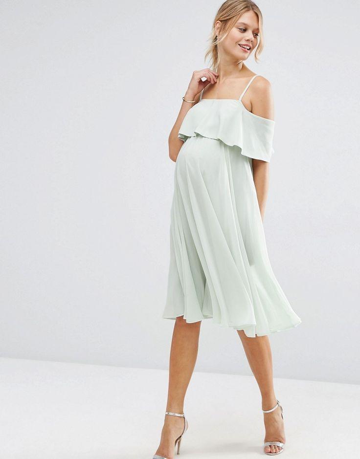 Image 4 ofASOS Maternity Cold Shoulder Midi Dress