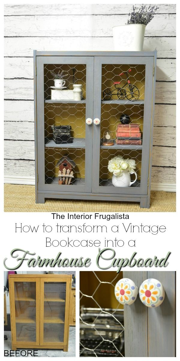Vintage Bookcase from 1957 transformed into a Farmhouse Cupboard Before and After   The Interior Frugalista