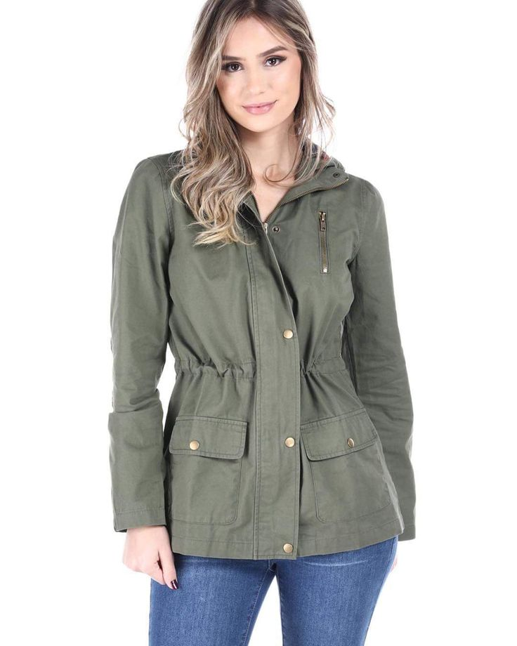 Pretty Olive Green Military Jacket With Drawstring Waist