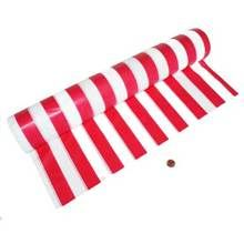This plastic carnival themed tablecloth roll is 100 feet long and will add lots of decoration using carnival themed stripes on your tables!