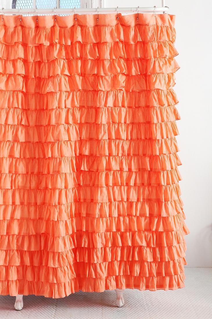 Light pink ruffle shower curtain - Waterfall Ruffle Shower Curtain