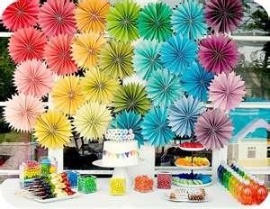 Paper Rosette BackdropBirthday Parties, Rainbows Theme, Rainbows Birthday, Paper Flower, Rainbows Parties, Parties Ideas, Parties Theme, Desserts Tables, Paper Rosette
