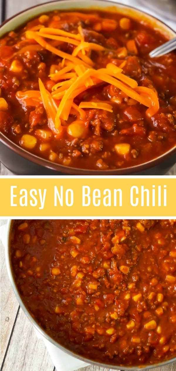 Easy No Bean Chili Is A Hearty Comfort Food Dish Loaded With Ground Beef And Hot Italian Sausage Meat This No Bean Chili Hearty Comfort Food Chili Recipe Easy