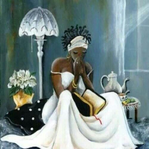Woman In Prayer & Solitude with Our Holy Trio (God the Father, Our Saviour Jesus Christ & the Holy Spirit)