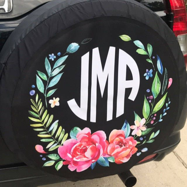 Monogrammed Spare Tire Cover Classy Black Floral Spare Tire Cover Custom Monogram Tire Cover Jeep Wrangler Accessories Jeep Tire Cover by ChicMonogram on Etsy