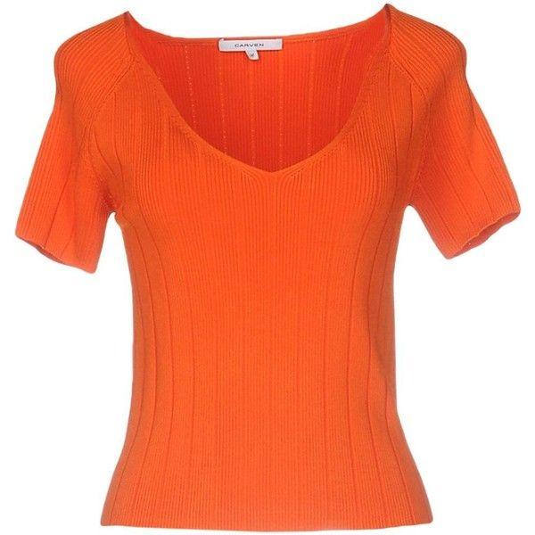 Carven Jumper ($185) ❤ liked on Polyvore featuring tops, sweaters, orange, short sleeve tops, orange v neck sweater, viscose tops, v-neck sweater and short sleeve v neck sweater
