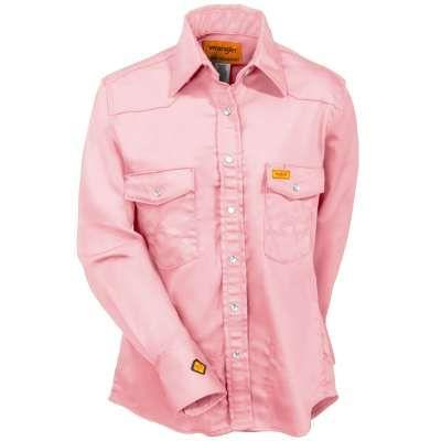 Wrangler Shirts: Women's FRLW05K Pink Flame Resistant Western Work Shirt