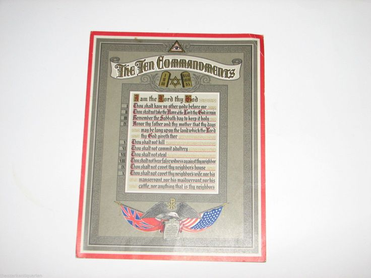 Ten Commandments Fraternal Order of Eagles FOE Poster Illuminati Eye of Providen | eBay