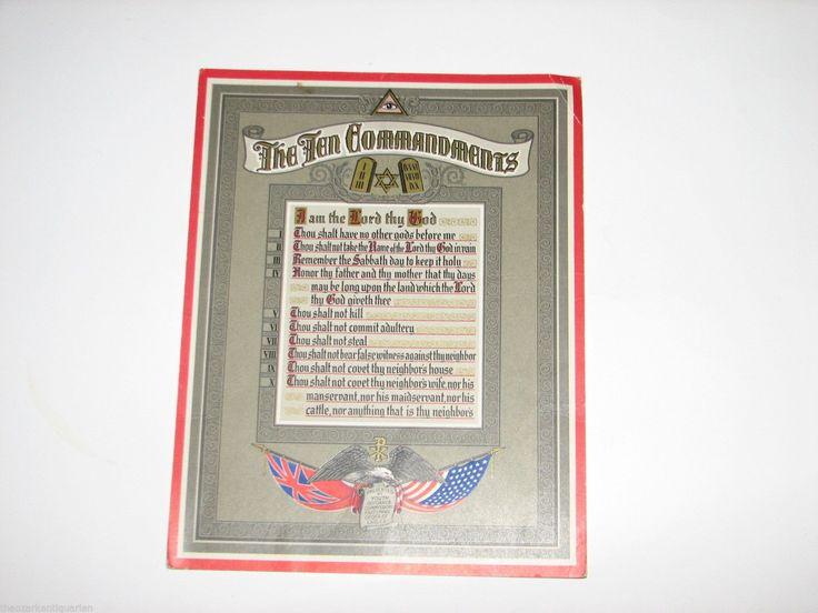 Ten Commandments Fraternal Order of Eagles FOE Poster Illuminati Eye of Providen | eBay