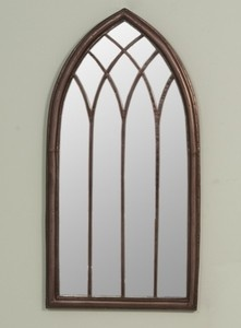 Arch Iron Metal Gothic Style Church Window Mirror