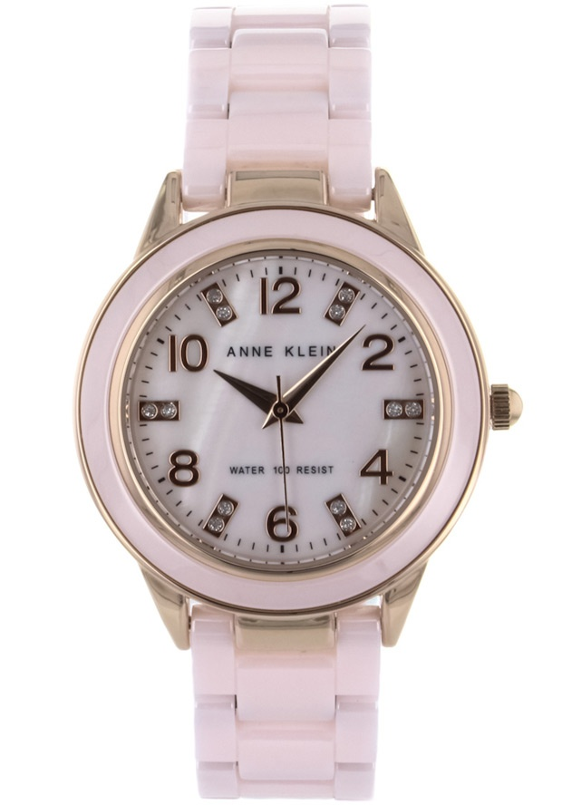 Price:$111.25 #watches Anne Klein 10-9344RGLP, Stainless steel case, Ceramic bracelet, Mother of pearl dial, Quartz movement, Scratch-resistant mineral, Water resistant up to 3 ATM - 30 meters - 100 feet