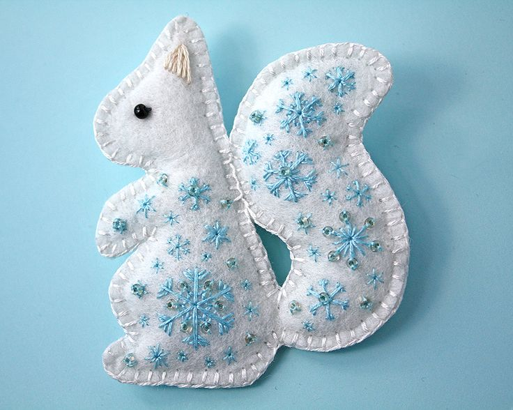 Snow Squirrel felt embroidered brooch by Ailinn-Lein.deviantart.com on @DeviantArt