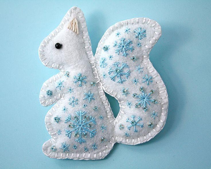 Snow Squirrel felt embroidered brooch by Ailinn-Lein.deviantart.com on @DeviantArt