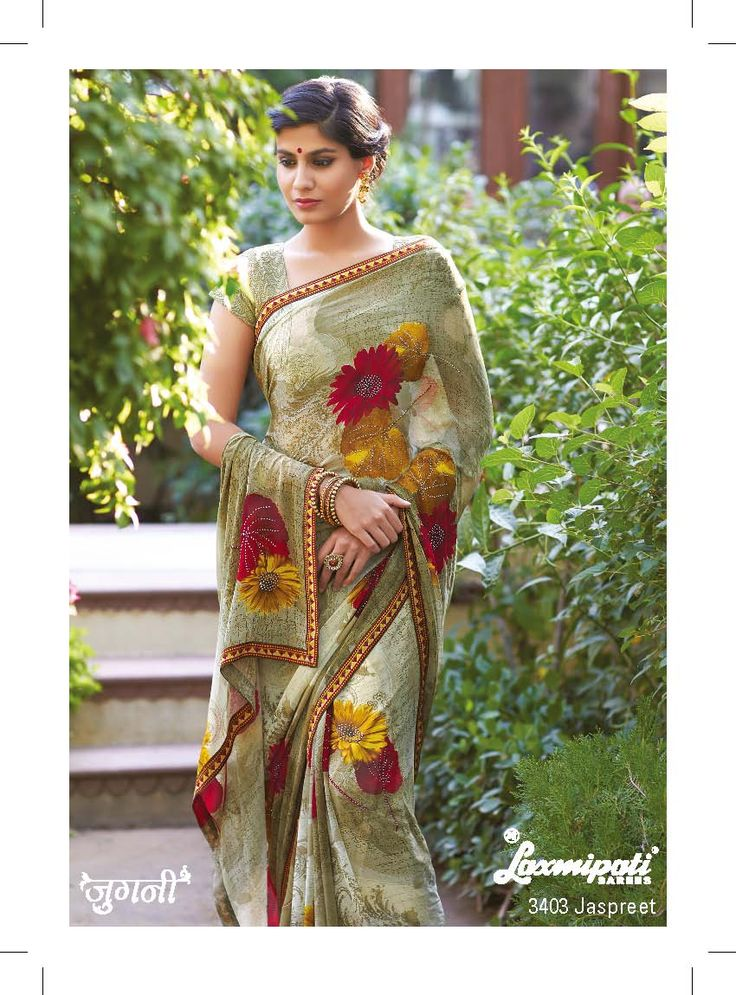 This drape is designed to celebrate womanhood in all its facets. Floral prints on olive green color will fetch the everyone's attention.