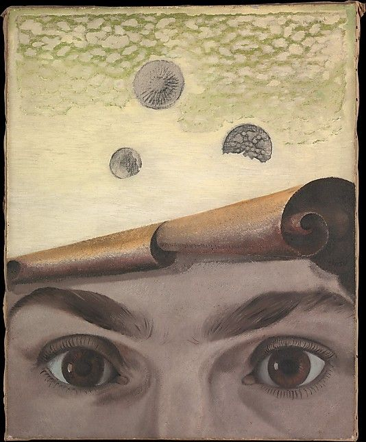 Max Ernst 1924 Gala Éluard I like this because of the patterns at the top of the piece and how the face which you would think is real is actually a piece of paper disguised as a face.