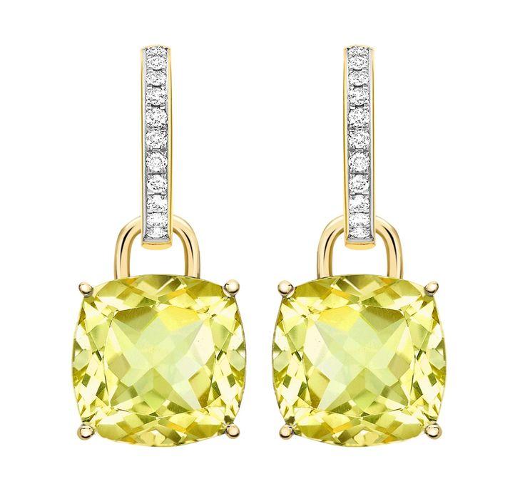 Kiki Classic Lemon Quartz and Diamond Cushion Drop Earrings