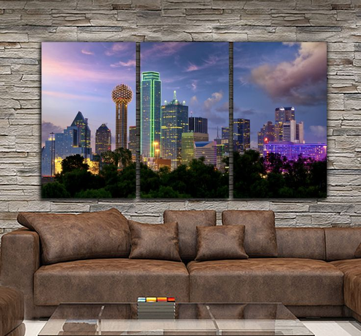 Dallas Skyline comes alive on this 3 panel, gallery-wrapped canvas set. As shown, canvas is over 6 feet wide! Canvas is professionally hand-stretched and gallery-wrapped at my Holy Cow Canvas studio.