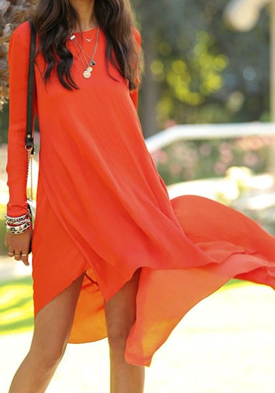 Orange Plain Irregular Loose Chiffon Dress