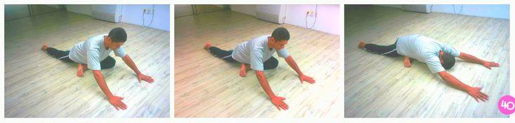 """Kapotasana//Essa na imagem é uma variação, mais simples, da kapotasana, também chamada de """"postura do pombo"""". Nessa kapotasana com uma perna dobra a outra perna e se inclina sobre ela e """"engatinha"""" as suas mãos até lá na frente, deixando-as estendidas e tenta encostar a testa no chão (vá até onde conseguir). Respira profundamente cinco vezes vezes nessa posição, volta e faz outras duas vezes. É uma postura que alivia a tensão nos quadris, por isso melhora a dor no ciático."""