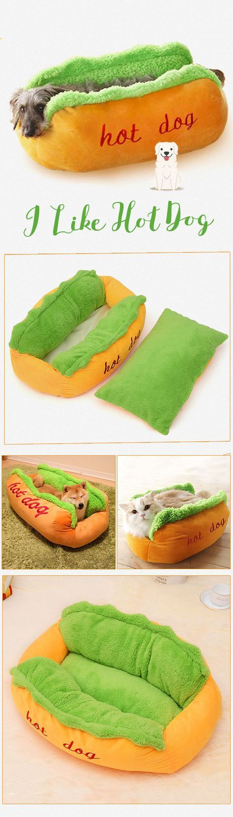 US$24.99- HAPET Pet Hot Dog Shape Bed Pad Puppy Resist Dirty and Bit Mat Simulation S L Size#newchic#pet#bedding