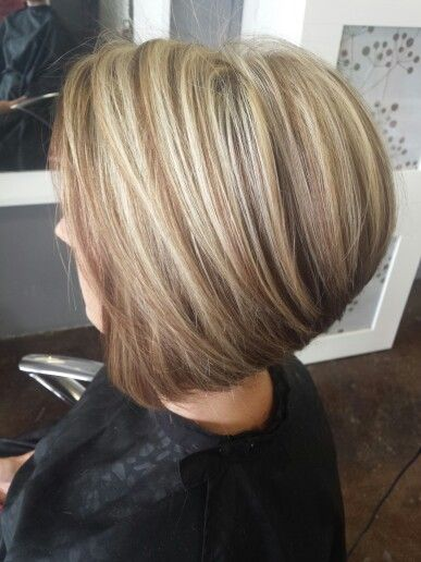Blond with light brown lowlights and a stacked Bob. Short ...