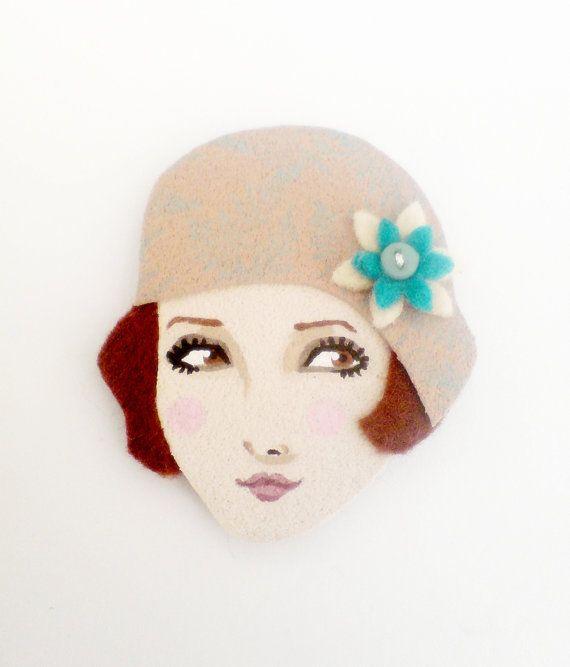 Art Deco flapper fabric brooch Felt Brooch retro brooch by yalipaz, $15.00