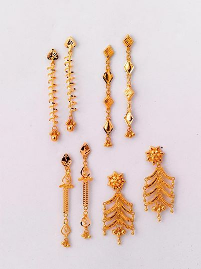 Dazzling Pairs of Earrings - only from the gold factory  a) 3.160 gm, Rs 10,100/- b) 3.250 gm, Rs 10,380/- c) 3.800 gm, Rs 12,130/- d) 5.200 gm, Rs 16,600/-