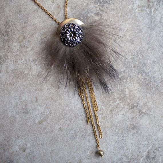 Long necklace  natural fur and recycled par CreationsNairaEiro