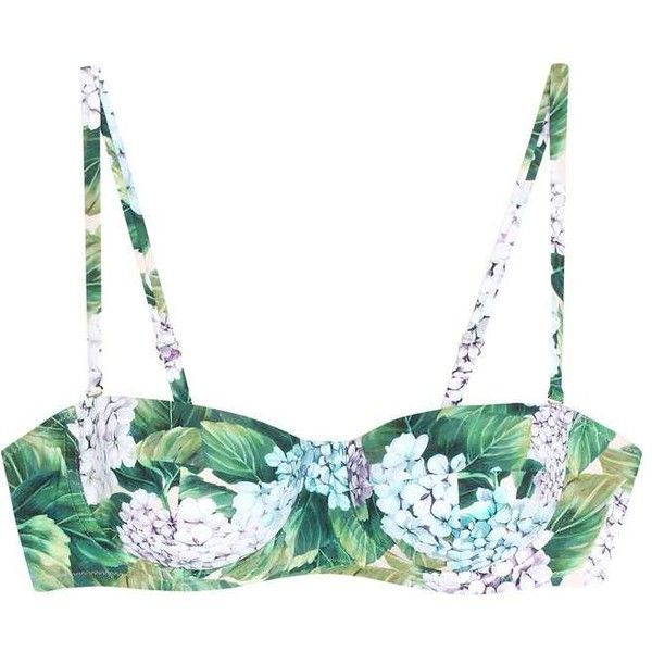 Dolce & Gabbana Floral-Printed Bikini Top (€280) ❤ liked on Polyvore featuring swimwear, bikinis, bikini tops, multicoloured, multicolor bikini, floral two piece, floral print swimwear, swim tops and colorful swimwear
