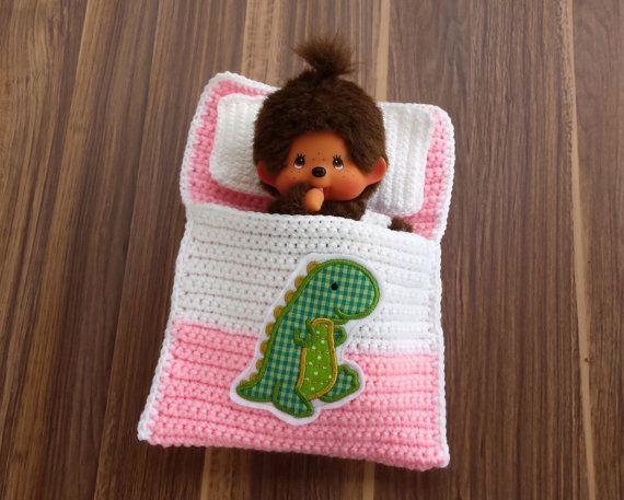 Puppenbettchen - Schlafsack für Monchichi 20 cm