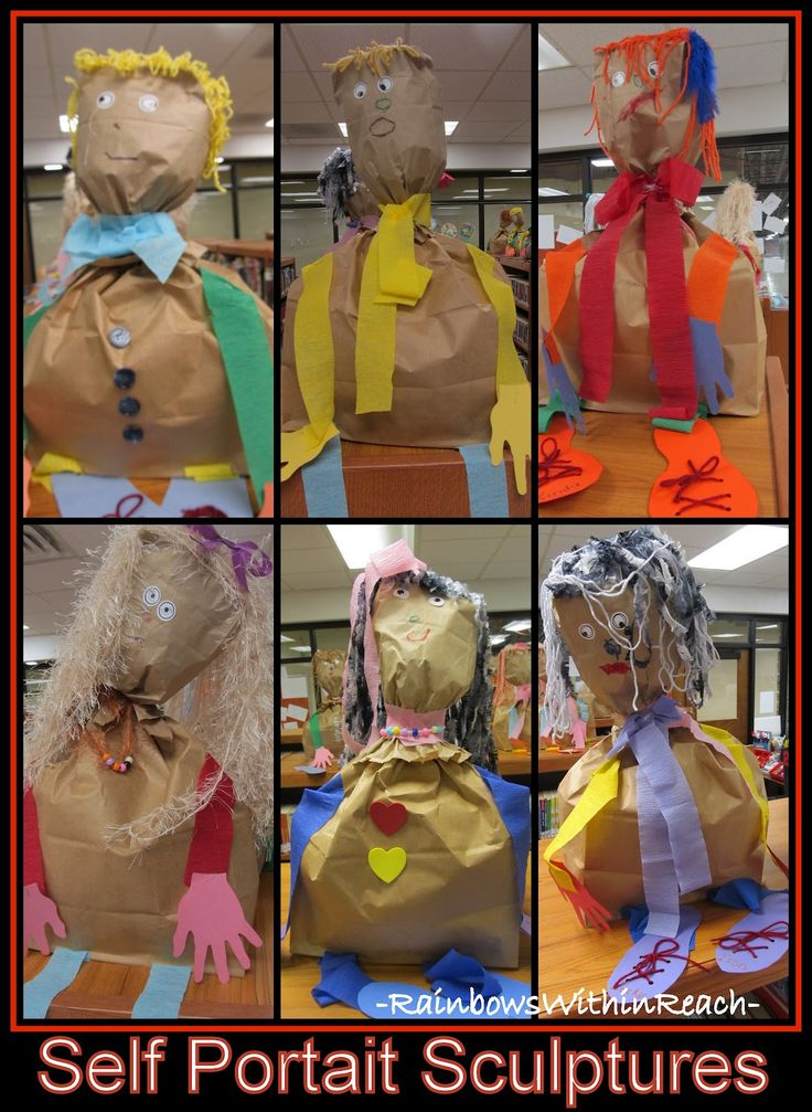 Self portrait sculptures from paper bags.