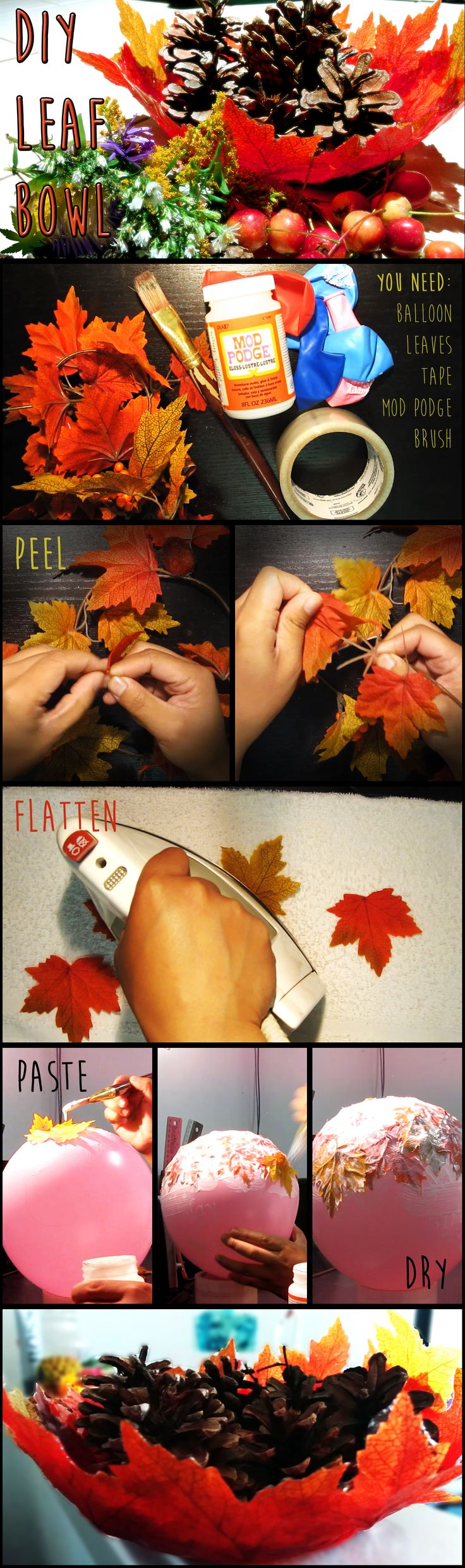DIY Room Decor - Autumn Leaf Bowl Made from a balloon, leaves, and mod podge. Great addition to your fall decorations around the house. Use it to hold candy, potpourri, or ornaments. http://youtu.be/0Ty3cBNZO08
