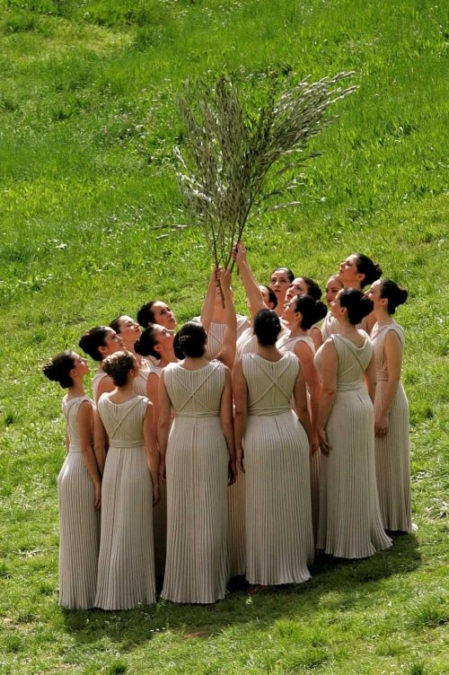 part of the Olympic Flame ceremony, Ancient Olympia, Greece