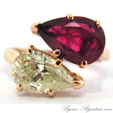 Bague « Toi et Moi » en or, 750 millièmes, ornée d'un diamant poire et d'un rubis poire. Poids total du bijou : 3,4 g. Poids du rubis : 1,58 carat. Poids du diamant : 1,28 carat. Hauteur : 12 mm. Tour de doigt : 51. Bague 145-8