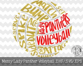 Messy Lady Panthers Volleyball Files Instant Download In Dxf Svg Eps For Use With Programs Such As Silhouette Studio And Cric Digital Paper School Spirit Messy